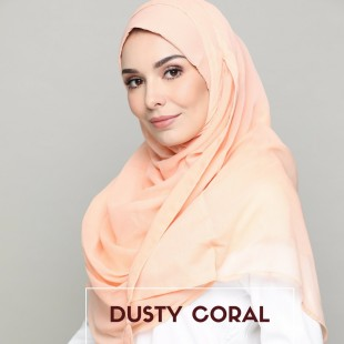 Dusty Coral-Chic!-Plain Smooth Chiffon