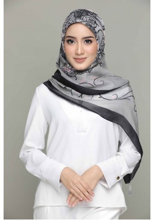 Unconditional Love-Gray-Classic Shawl-Printed Square SILK