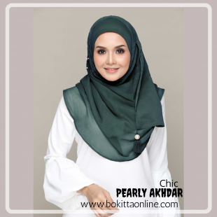 Pearly Akhdar-Chic!-Premium Plain with Embroidery and Pearls