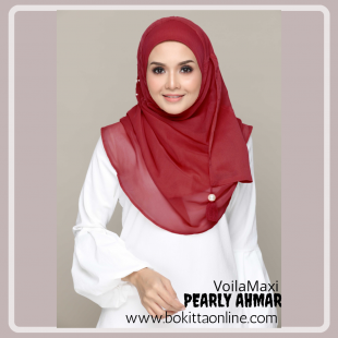 Pearly Ahmar-Chic!-Premium Plain with Embroidery and Pearls