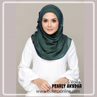 Pearly Akhdar-Voila!-Premium Plain with Embroidery and Pearls