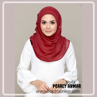 Pearly Ahmar-Voila!-Premium Plain with Embroidery and Pearls