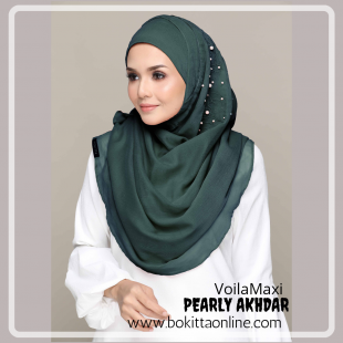 Pearly Akhdar-Voila!Maxi-Premium Plain with Embroidery and Pearl