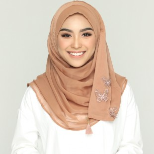 Brown Patina-CHIC-Plain With Applique Smooth Chiffon