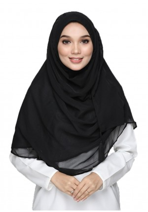 Black-CHICMAXI!-Plain Crinkled CHIFFON