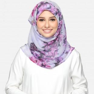 Hydrangea Purple-VOILA-Printed Smooth Chiffon