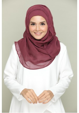 Aubergine-CHIC-Plain With Tassels Smooth Chiffon