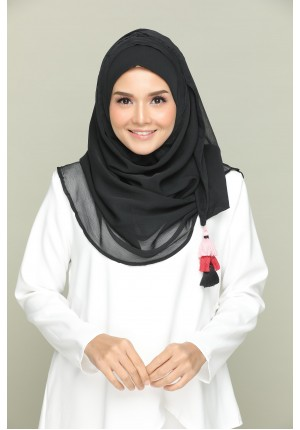 Black for Belle-CHIC-Plain Smooth Chiffon