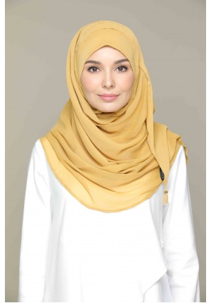 Honey Mustard-CHIC-Plain Smooth Chiffon