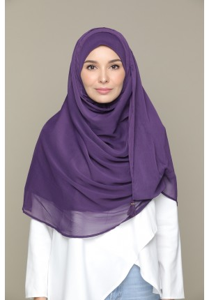 Purple Pennant-CHIC MAXI-Plain Smooth Chiffon