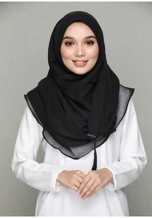 Black -CHIC-BASICS Plain Lite Chiffon