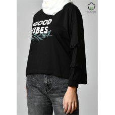 GOOD VIBES BLACK-T-Shirt Peony