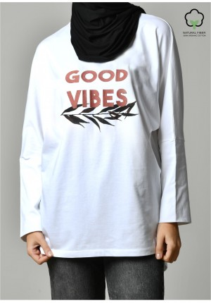 GOOD VIBES WHITE-T-Shirt Pansy