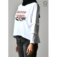 GOOD VIBES WHITE-T-Shirt Peony