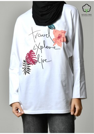 TRAVEL EXPLORE LIVE WHITE-T-Shirt Pansy
