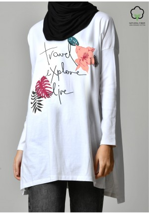 TRAVEL EXPLORE LIVE WHITE-T-Shirt Tulip