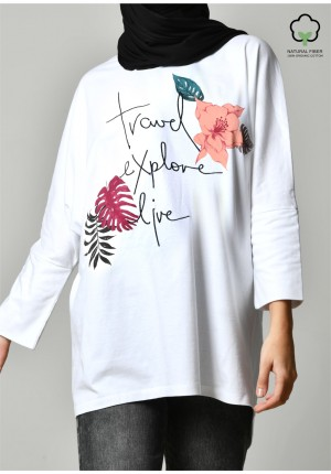 TRAVEL EXPLORE LIVE WHITE-T-Shirt Pansy Long