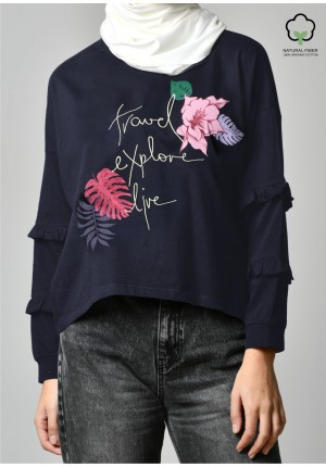 TRAVEL EXPLORE LIVE NAVY-T-Shirt Peony