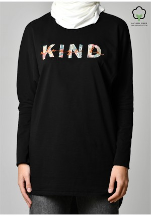 ALWAYS BE KIND BLACK-T-Shirt Pansy Long