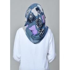 Dunyazad Blue -VOILA-Printed Mosaic Chiffon