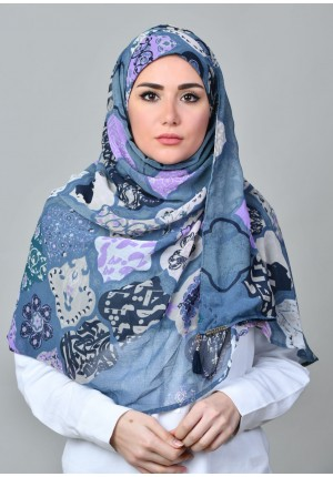 Dunyazad Blue -CHIC MAXI-Printed Mosaic Chiffon