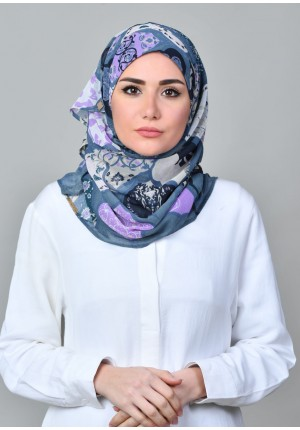 Dunyazad Blue -VOILA MINI-Printed Mosaic Chiffon