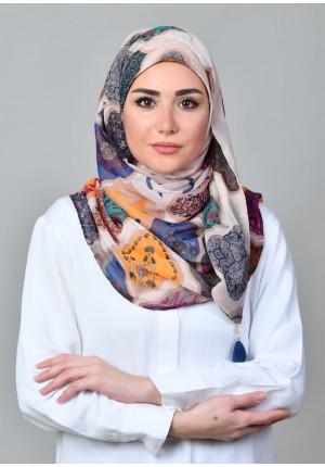 Dunyazad Beige -CHIC-Printed Mosaic Chiffon