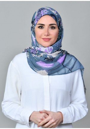 Dunyazad Blue -FREE STYLE-Printed Mosaic Chiffon (Exclude Inner)