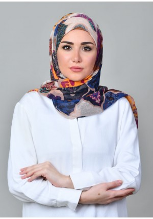 Dunyazad Beige -FREE STYLE-Printed Mosaic Chiffon (Exclude Inner)