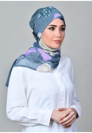 Dunyazad Blue -CAP SHAWL-Printed Mosaic Chiffon