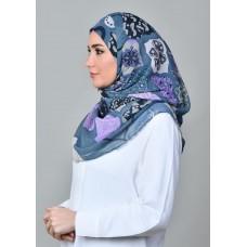 Dunyazad Blue -VOILA MAXI-Printed Mosaic Chiffon
