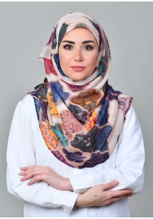 Dunyazad Beige -VOILA MAXI-Printed Mosaic Chiffon