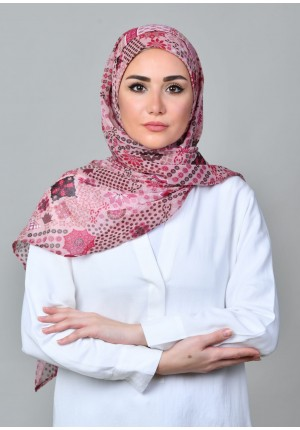 Sindibad Pink-FREE STYLE-Printed  Chiffon (Exclude Inner)