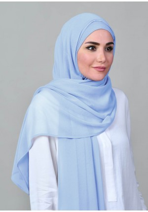 Celestial Blue-Free Style-Plain Crepe Chiffon (Include Inner)