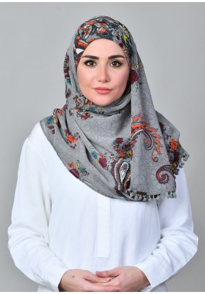 Kashmir Gray-CHIC-Printed With Pompoms Mosaic Chiffon