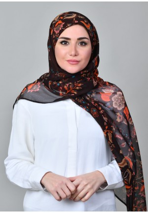 Shiraz Brown-FREE STYLE-Printed Mosaic Chiffon (Exclude Inner)