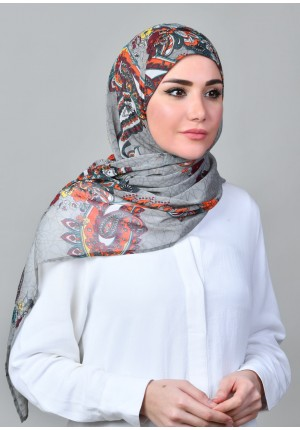 Kashmir Gray-FREE STYLE-Printed Mosaic Chiffon (Exclude Inner)