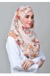 Shiraz Pearl-VOILA MAXI-Printed With Pompoms Mosaic Butti Chiffon