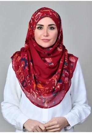 Shiraz Red-VOILA MAXI-Printed With Pompoms Mosaic Chiffon