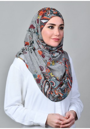 Kashmir Gray-VOILA MAXI-Printed With Pompoms Mosaic Chiffon