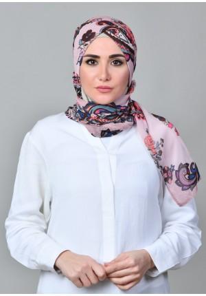 Boteh Pink-CAP SHAWL-Printed Mosaic Chiffon