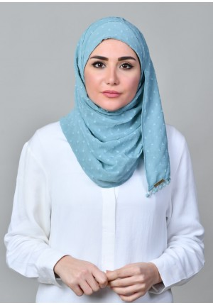 Aqua-CHIC MINI-Plain With Pompoms Mosaic Butti Chiffon