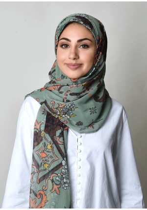Baroquesque Green-Free Style-Printed Crinkled Chiffon (exclude inner)