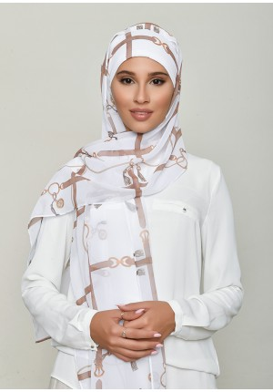 Buckle White-Cap Shawl-Printed HD Georgette
