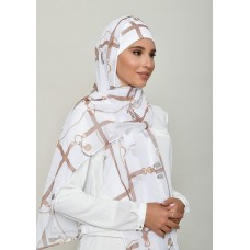 Buckle White-Cap Shawl-Printed HD Georgette