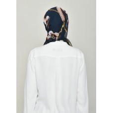 Blossom Navy-Cap Shawl-Printed Crinkled Chiffon