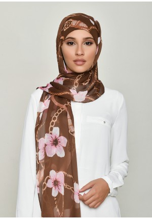 Blossom Brown-Cap Shawl-Printed Crinkled Chiffon