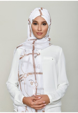 Buckle White-Free Style with Xinner-Printed HD Georgette (Include Inner)