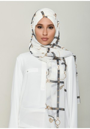 Buckle Cream-Free Style with Xinner-Printed HD Georgette (Include Inner)