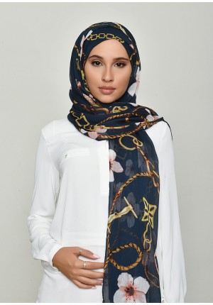Blossom Navy-Free Style with Xinner-Printed Crinkled Chiffon (Include Inner)